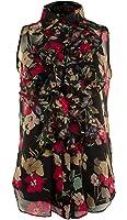 Lauren Ralph Lauren Womens Petites Floral Print Ruffled Blouse