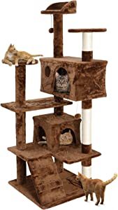 Nova Microdermabrasion 53 Inches Multi-Level Cat Tree Stand House Furniture Kittens Activity Tower with Scratching Posts Kitty Pet Play House