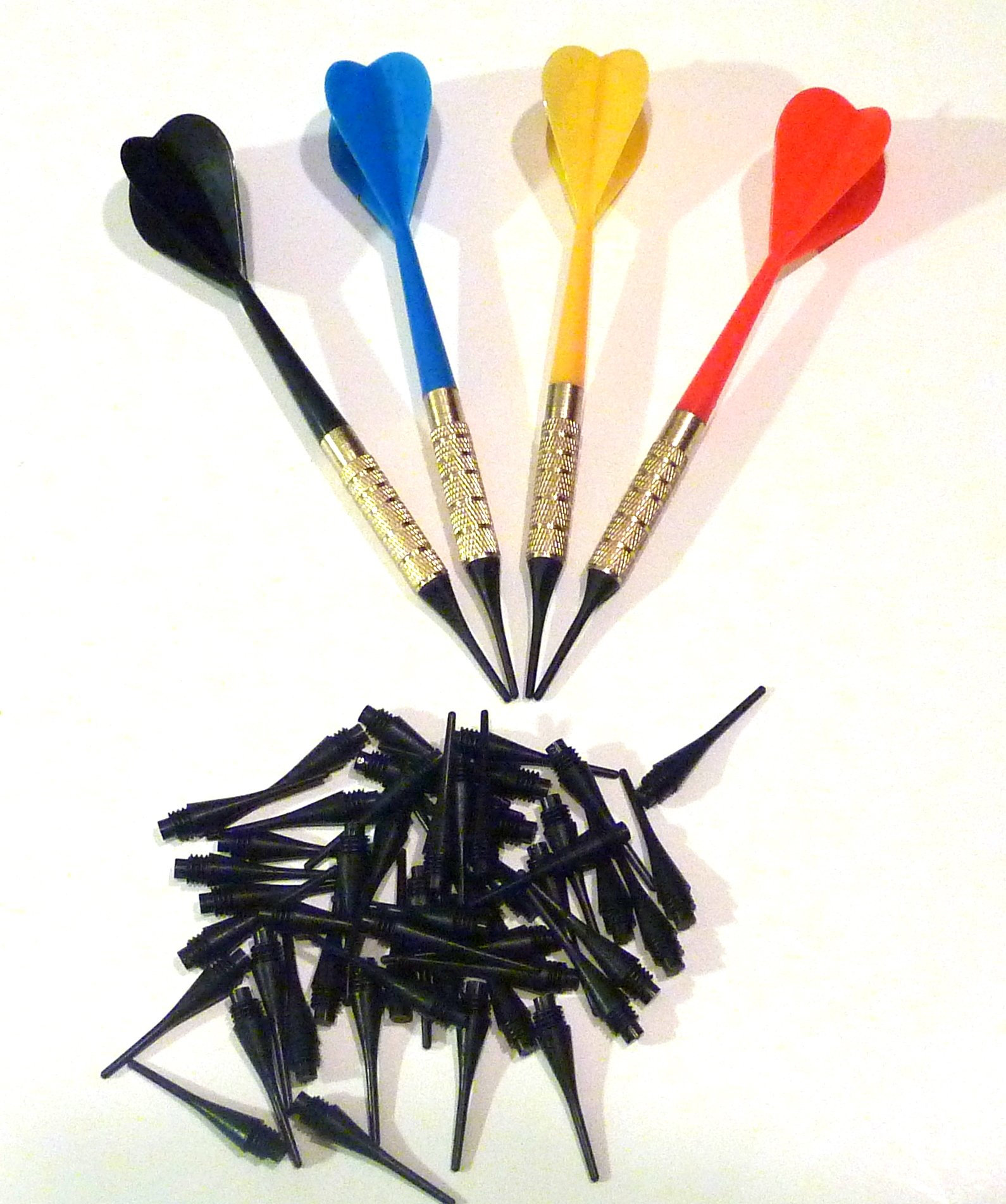 Dart Pro Plastic Soft Tip Darts, Lot of 12 Assorted Colors Plus 50 Extra Tips