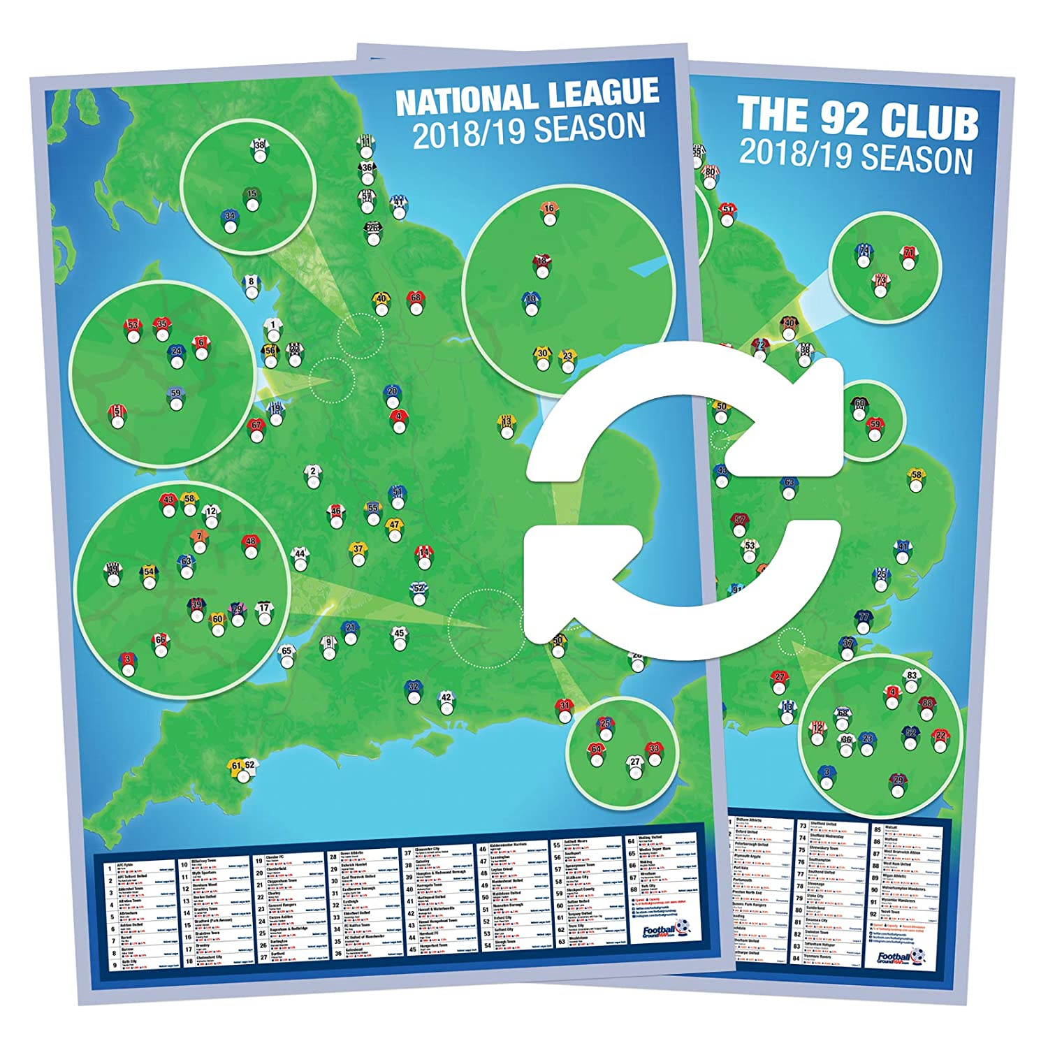 Football Ground Map 92 Club National League A1 Double Sided Wall