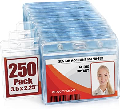 55 Pcs Horizontal Badge Holders Sealable Waterproof Clear Plastic Name Tag ID Card Holder