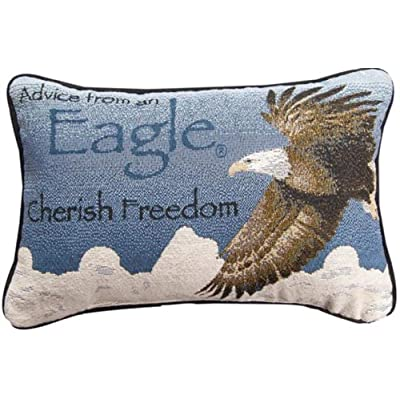 "CC Home Furnishings Blue and White Eagle Cherish Freedom Indoor Rectangular Throw Pillow 12.5"": Home & Kitchen"