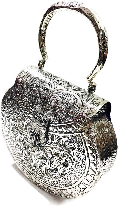 Embragues de metal dorado Bolso de mano de lat/ón hecho a mano de metal Bolso de mano de embrague para mujer Bolso de mano desmontable