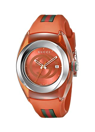 bed86ff5e Image Unavailable. Image not available for. Color: Gucci Stainless Steel  Watch with Orange BYNC Band(Model:YA137311)