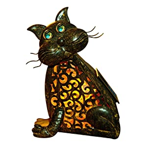 Cat Lamp 3D Solar Garden Decorations Lights Christmas Yard Feline Metal Figures Outdoor Zen Welcome Animal Statue Halloween Night Glow Lawn Home Patio LED Tail Novelty Vintage Lucky Shaped Accent