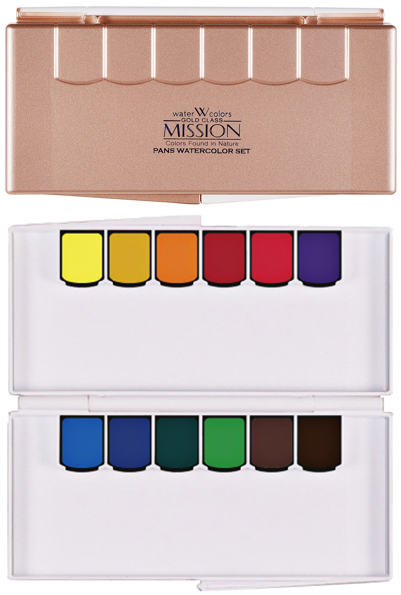 CrushOn@ Mission Gold Pan Watercolor Set Compact Size with Water Brush by CrushOn (Gold Pan 12 Colors) by Mission