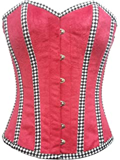 b5575afcc8 Red Velvet Check Stripes Gothic Burlesque Waist Cincher Bustier Overbust  Corset