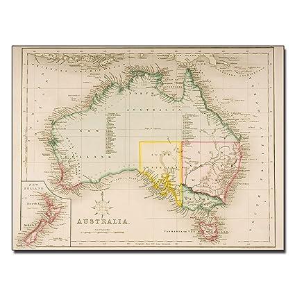 Map Of New Zealand Australia.Amazon Com Map Of Australia And New Zealand By J Archer Work 24