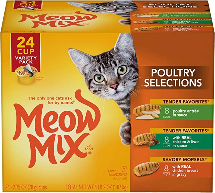 Meow Mix Poultry Selections Wet Cat Food, Variety Pack, 2.75 Ounce Cup (Pack of 24)