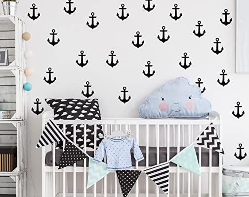 Anchor Wall Decals Nursery / Nursery Wall Decal. Nautical Nursery Wall Decal Stickers. Wall Vinyl Sticker Nursery Decals Baby Room Decor F15