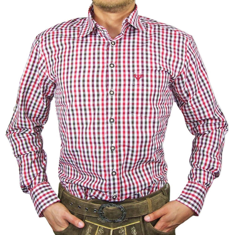 hot sale online b8ea7 acaf2 Trachtenhemd Alex Mocca Burgund für Herren - Schönes ...