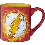 Silver Buffalo DC Comics Flash Splatter Paint Logo Ceramic, 14-Ounces Mug, 14 Oz, Red