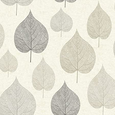CROWN Wallcoverings One Leaf Wallpaper Grey M1070 Full Roll