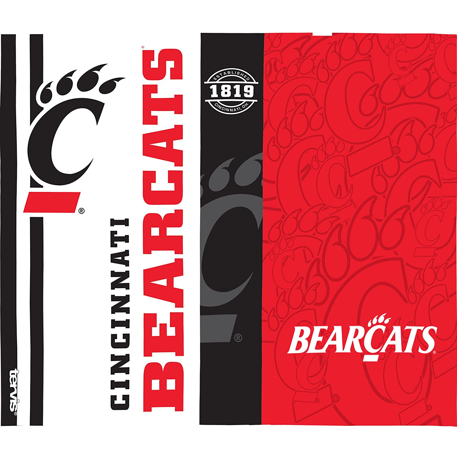 Tervis 1220229 Cincinnati Bearcats College Pride Tumbler with Wrap and Red with Gray Lid 24oz Water Bottle Clear