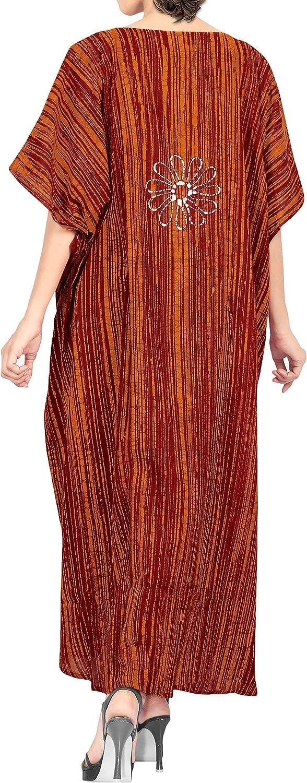 LA LEELA Femmes Coton Longue Kaftan Tunique Kimono Batik Grande Taille Robe pour Loungewear Vacances V/êtement de Nuit Plage Tous Les Jours Haut Robes Maxi Caftan GI