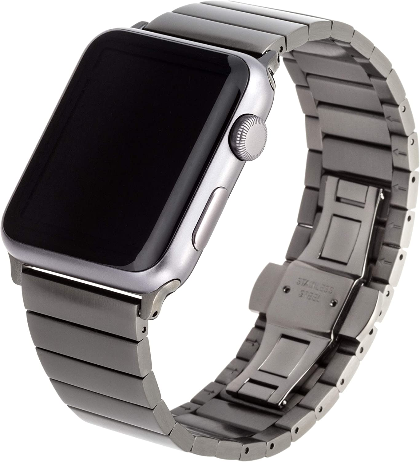 WITHit Stainless-Steel Replacement Band for Apple Watch, 42/44mm, Space Gray – Secure and Adjustable Electroplated Stainless-Steel Bracelet, Butterfly Clasp Hardware, Fits Most Wrists