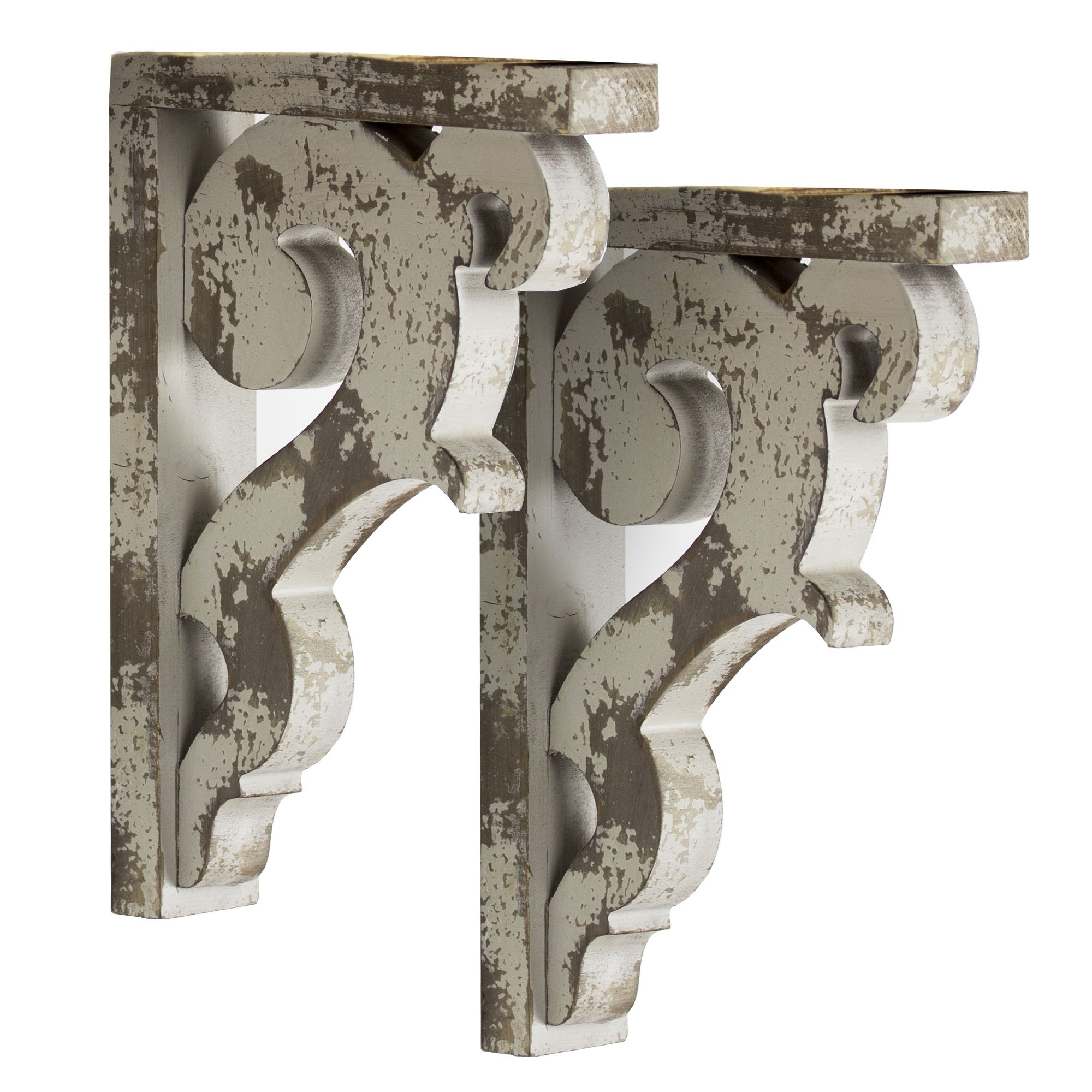 American Art Décor Wooden Corbels Shelf Brackets Vintage Farmhouse Decor (Set of 2 - Gray)