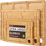 Bamboo Cutting Boards for Kitchen, (Set of 3) Kitchen Chopping Board with 3 Built-In Compartments and Juice Groove Heavy Duty