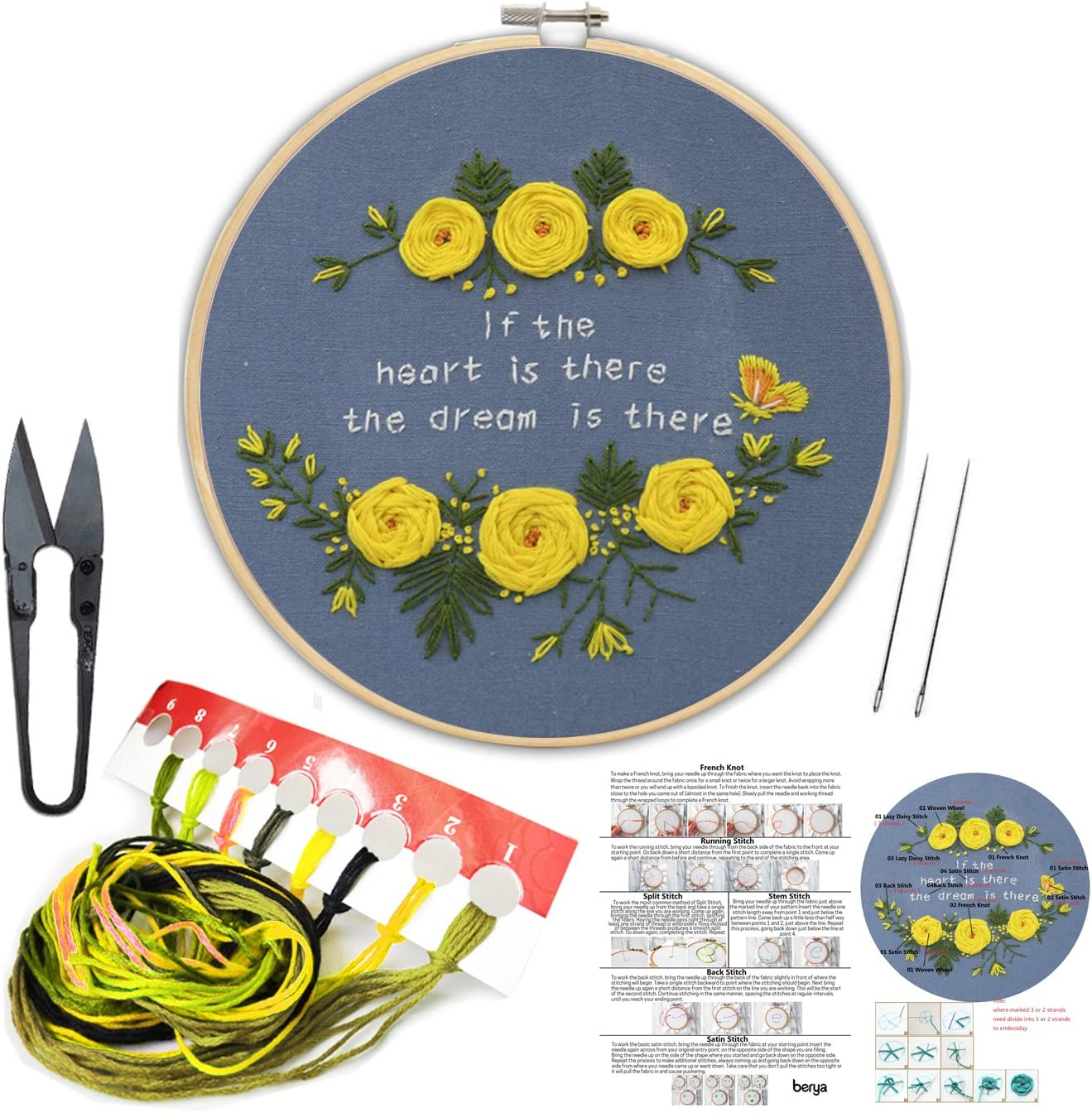 Handmade Embroidery Starter Kit Set with Partten Including Embroidery Cloth,Bamboo Embroidery Hoop and Other Tools Kit for Beginners Color Threads