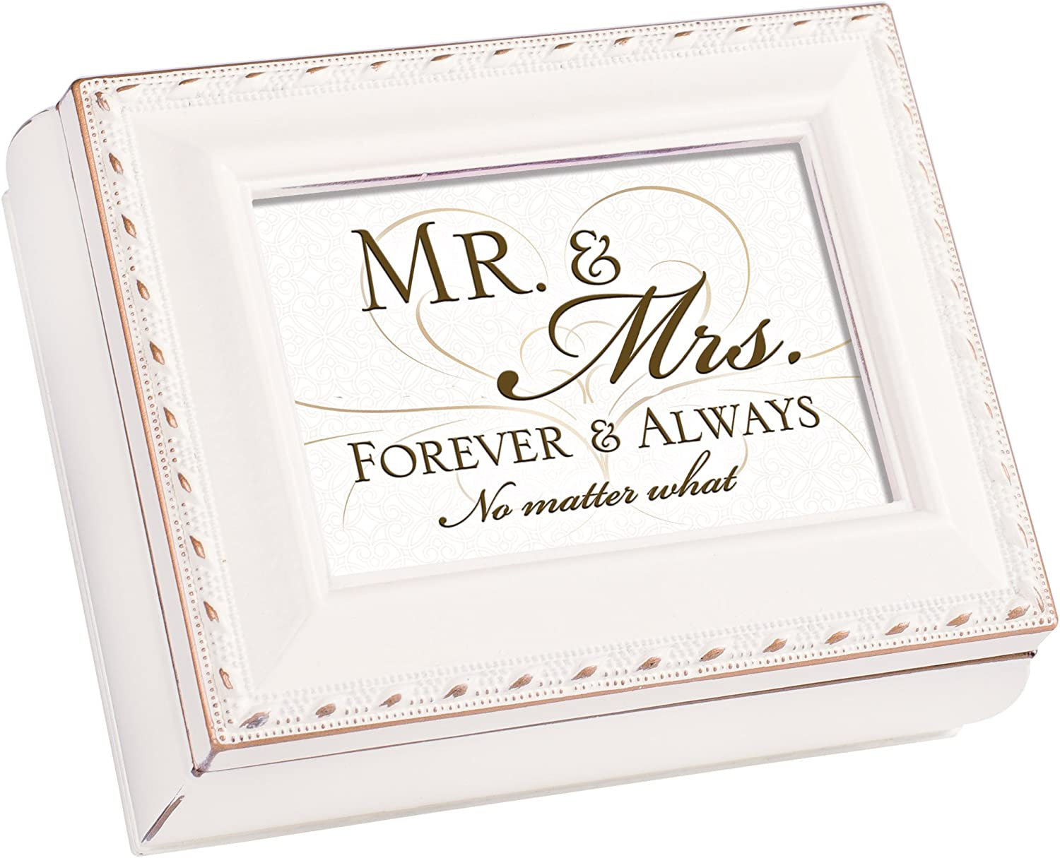 Cottage Garden Mr and Mrs Forever Ivory Rope Trim 4.5 x 3.5 Tiny Square Jewelry Keepsake Box