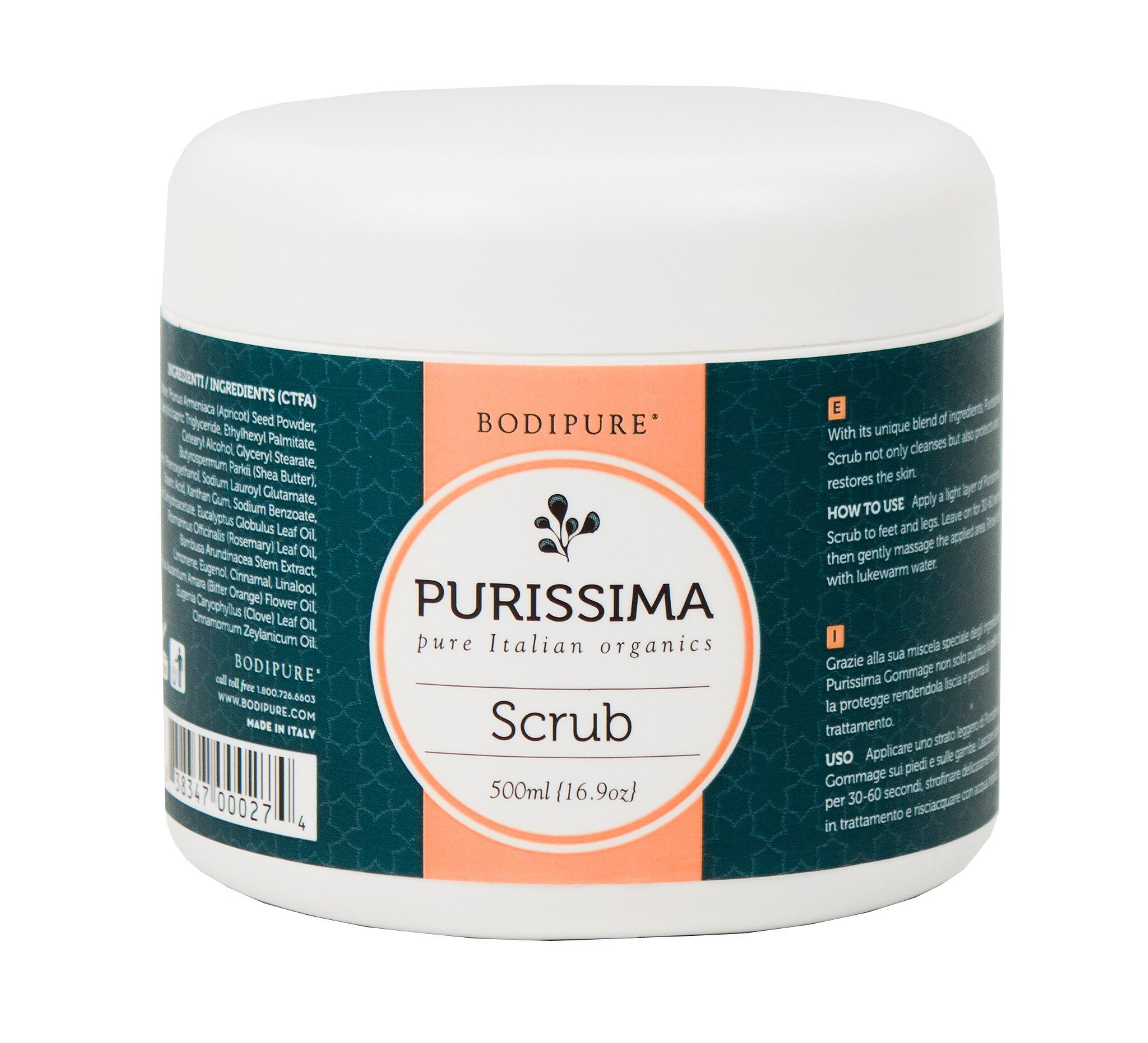 Purissima Organic Scrub from Italy-500ml by Bodipure