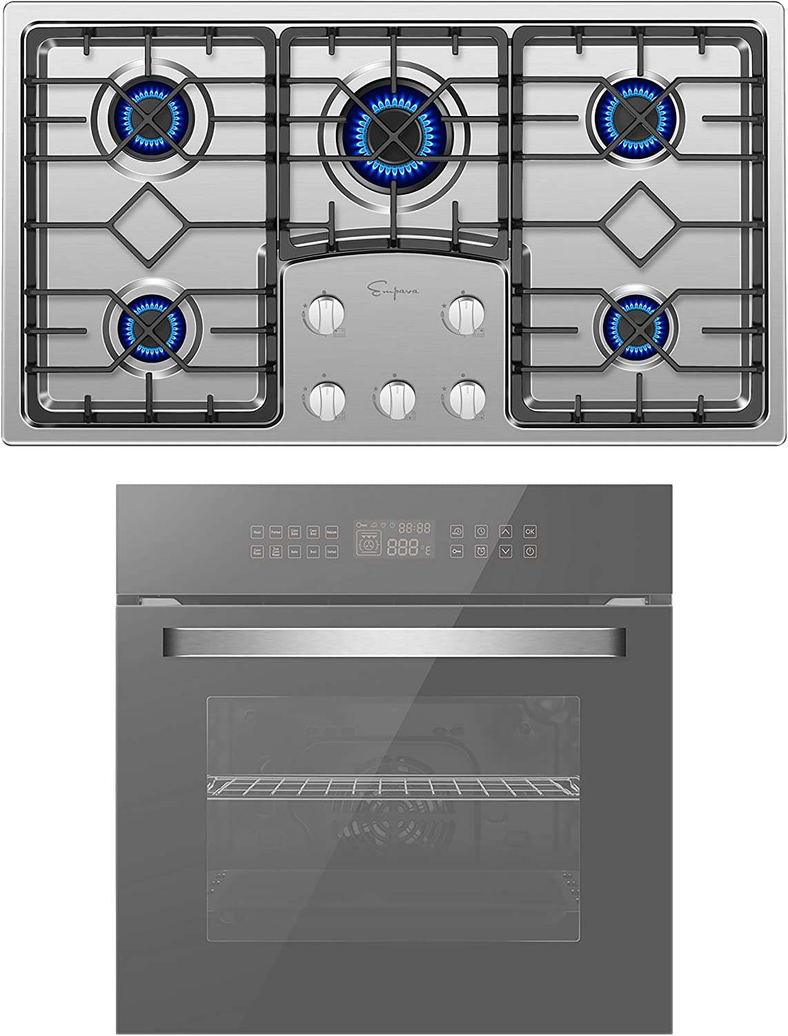 Empava 24 Inch Electric Single Wall Oven and 36 Inch Gas Cooktop Stove LPG/NG Convertible with 5 Italy SABAF Burners in Stainless Steel