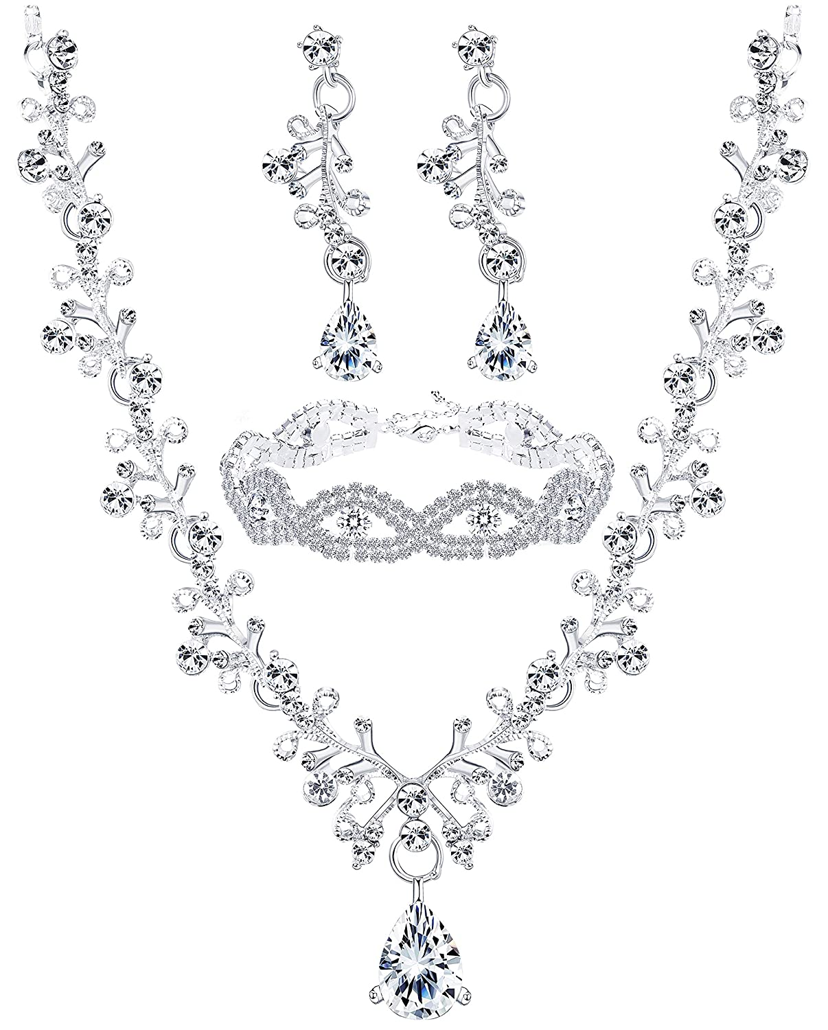 a08be5655 Amazon.com: Finrezio Wedding Bridal Jewelry Set Crystal Necklace Earrings  Bracelet Sets for Women Gift: Jewelry