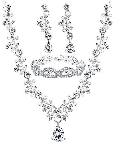 4172f46f7ab27 Finrezio Wedding Bridal Jewelry Set Crystal Necklace Earrings Bracelet Sets  for Women Gift