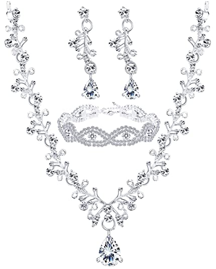 4d1e5cb2aeb Amazon.com  Finrezio Wedding Bridal Jewelry Set Crystal Necklace Earrings  Bracelet Sets for Women Gift  Jewelry