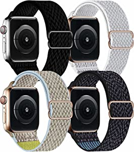 OHCBOOGIE 4 Pack Nylon Solo Loop Compatible with Apple Watch Bands,Stretch Adjustable Soft Sport Breathable Straps for Iwatch Series 6/5/4/3/2/1/SE,Black/Seashell/Camel/Hyper Grape,42/44mm