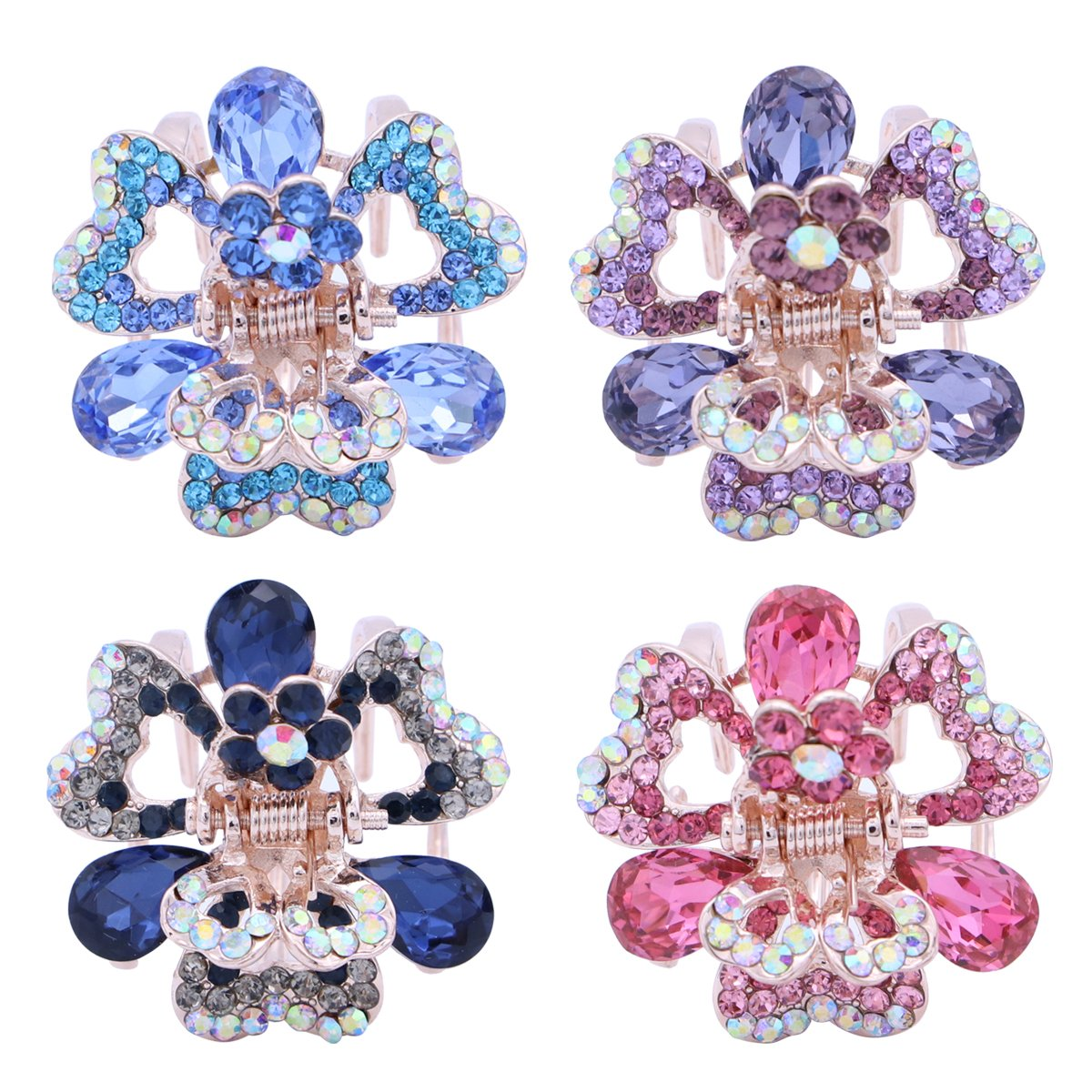 FRCOLOR 4pcs Crystal Metal Jaw Claw Hair Clip Small Butterfly Design Barrettes for Women Girl (Purple, Pink, Blue and Dark Blue)