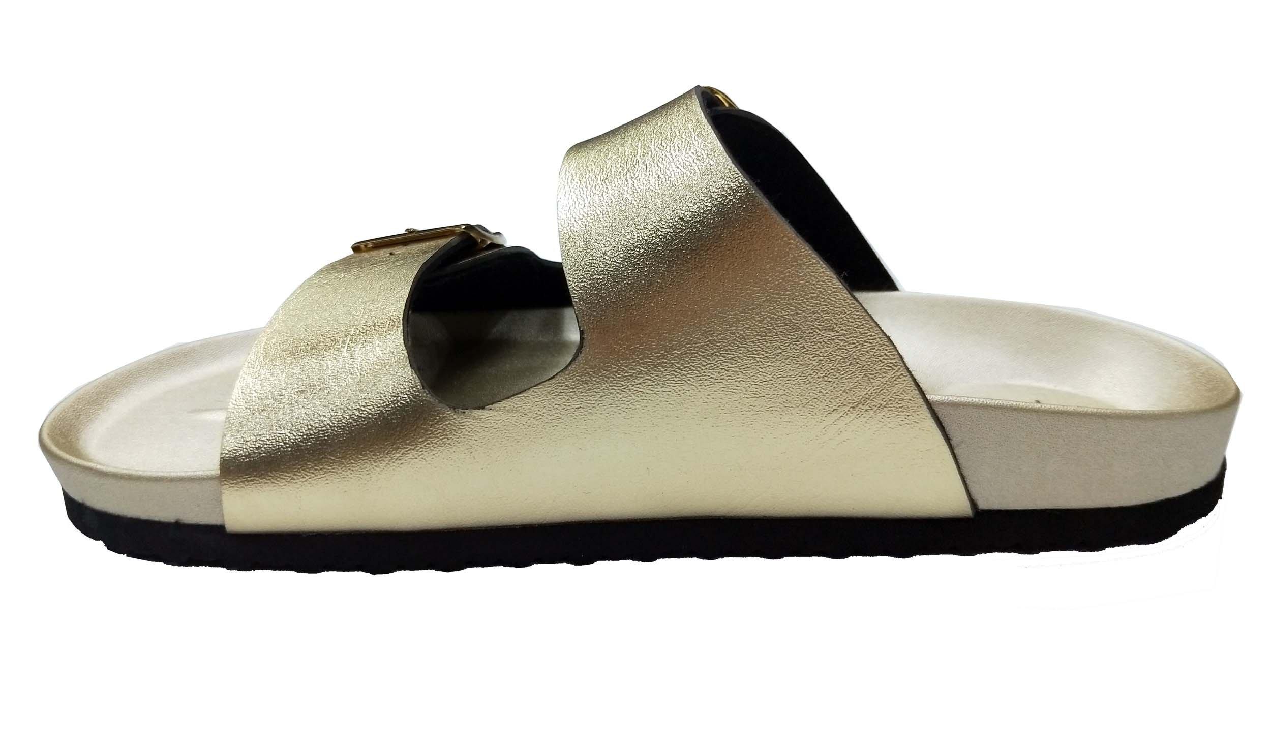 Pepstep Buckle Strap Sandals for Women Super Lightweight and Comfortable Golden/Black Womens Footbed Slide Sandals(9, Golden)
