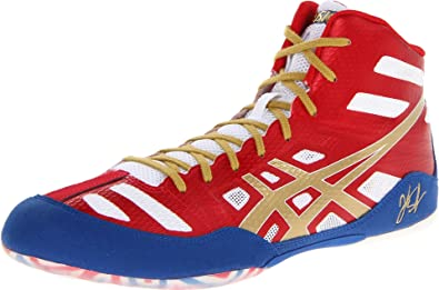 buy online eea5d 9ca8b ASICS Men s JB Elite Wrestling Shoe,True Red Olympic Gold White,9.5