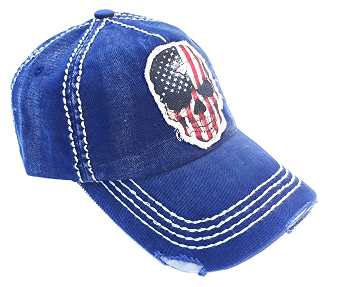 72c236a55 Men's USA American Flag Skull Vintage Ball Cap (Navy) at Amazon ...