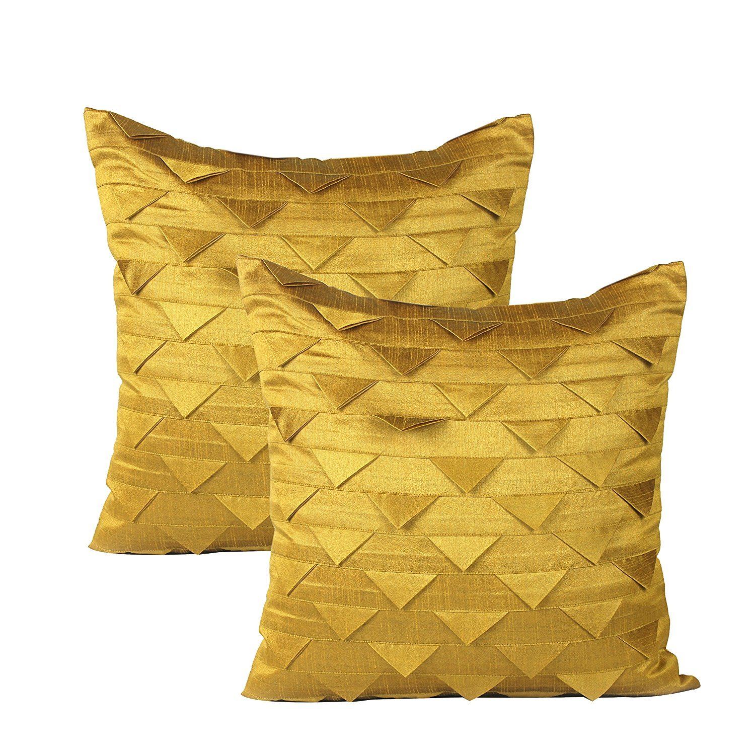 The White Petals Set of 2 Mustard Yellow Pillow Case, Origami Style, Textured (Solid Mustard Yellow, 18x18 inches)