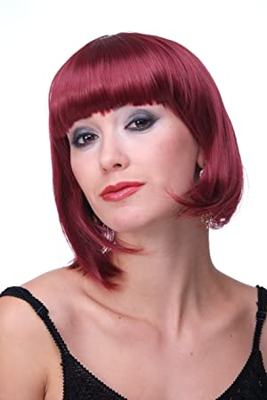 WIG ME UP ® - Peluca corta de pelo bob color rojo granate fiesta disco GO