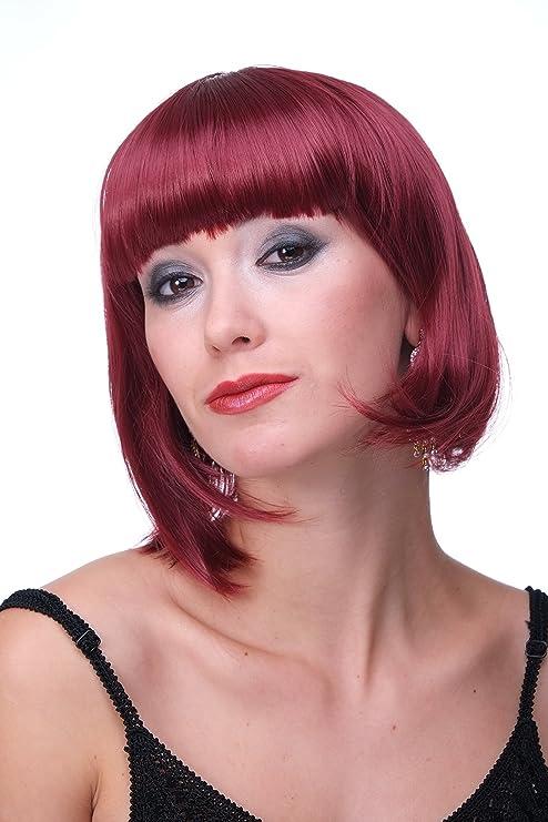 WIG ME UP ® - Peluca corta de pelo bob color rojo granate fiesta disco GO