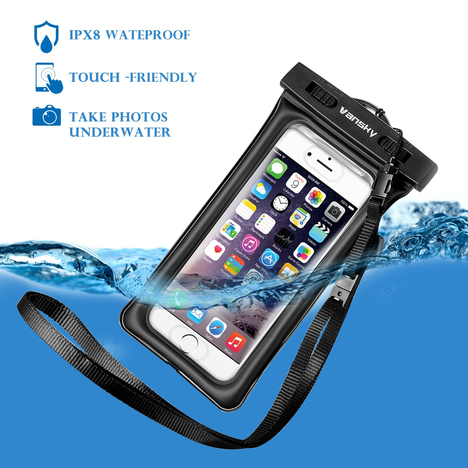 Floatable Waterproof Phone Case, Vansky Waterproof Phone Pouch Dry Bag with Armband and Audio Jack for iPhone X, 8 Plus, 8, 7 Plus, 7, 6s, 6, Andriod; TPU Construction IPX8 Certified by Vansky (Image #9)