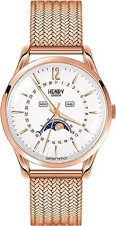 Henry London Reloj Fase Lunar para Unisex de Cuarzo con Correa en ...