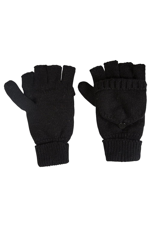Mountain Warehouse Fingerless Knitted Womens Mitten - Fleece Lined Black 024757005001