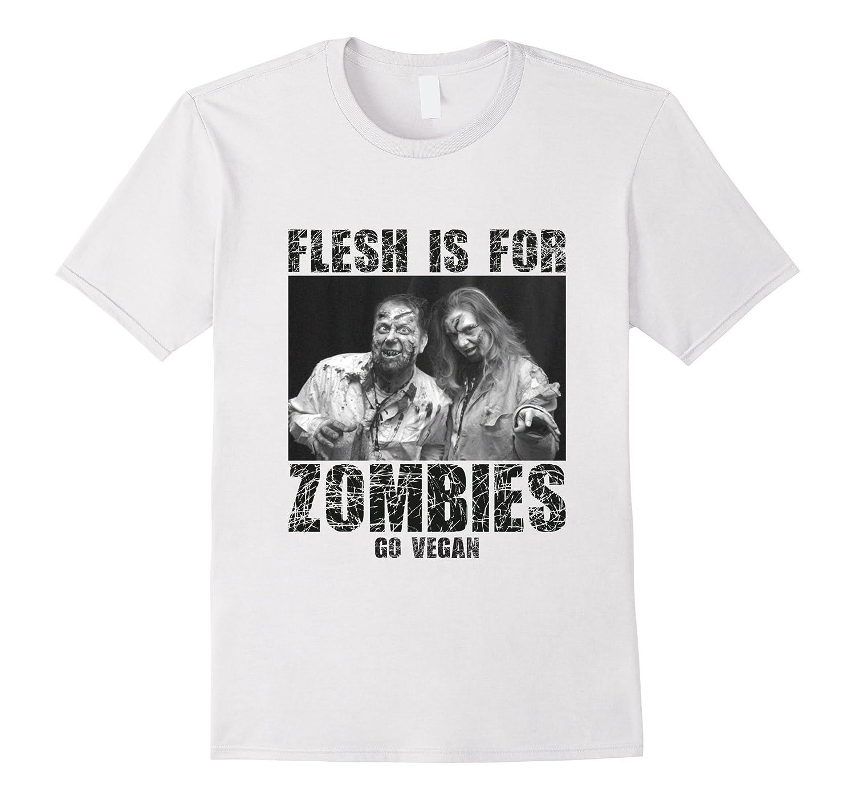 Vegan TShirt Flesh Is For Zombies Go Vegan T-Shirt-TD