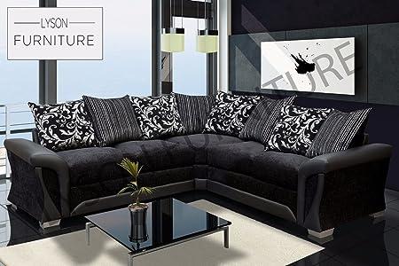 Lyson Furniture CORNER SOFA Extra Large Original SHANNON BlackBlack Fabric and Faux Leather