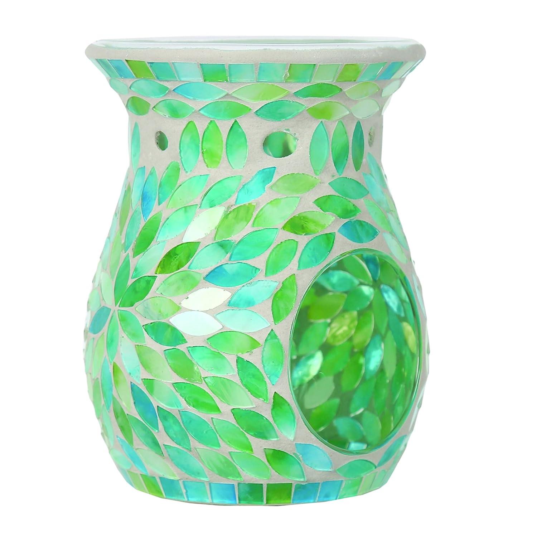 Aroma Accessories Mint Petals Mosaic Wax Melt Burner, Green, 14 cm VC1032