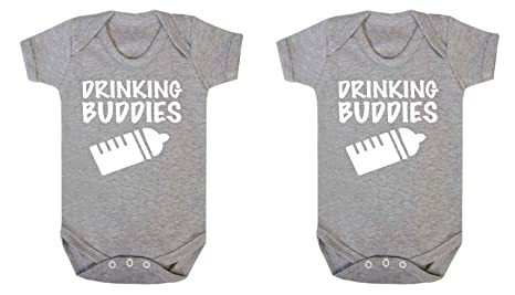 Drinking Buddies Novelty Twins Baby Vests Babygrow Baby Twin Gifts Set