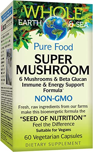 Whole Earth Sea from Natural Factors, Super Mushroom, Whole Food Supplement, Vegan, 60 Vegetarian Capsules 60 Servings