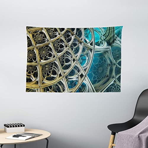 Ambesonne Fractal Tapestry, Vintage Motifs Inspired Floral Design Dimension Futuristic Print, Wide Wall Hanging for Bedroom Living Room Dorm, 60 X 40 , Pale Blue