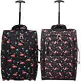 Set of 2 Super Lightweight Cabin Approved Luggage Travel Wheely Suitcase Wheeled Bags Bag Black/Red + Black/Blue (Black Watermelon + Black Flamingos)