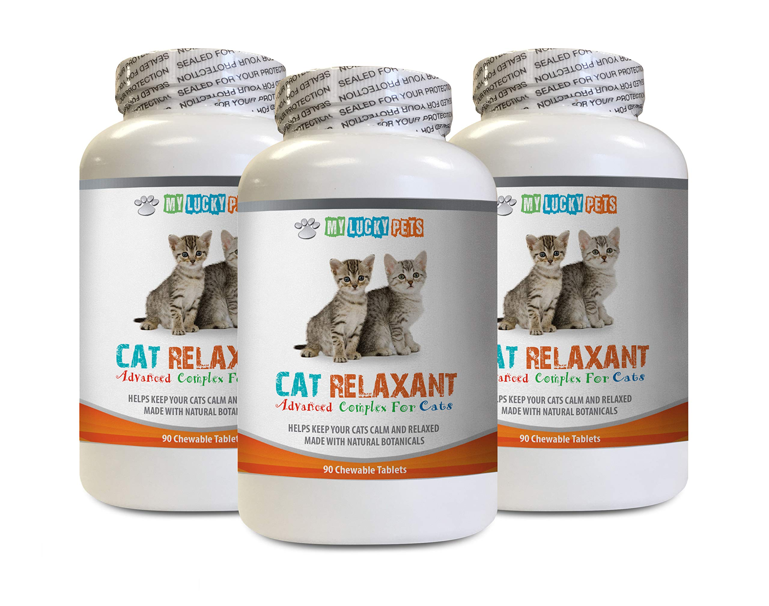 MY LUCKY PETS LLC cat Anxiety Supplement - Advanced Relaxant for Cats - Calms Down Your CAT - Anxiety Relief Complex - Chamomile for Cats - 3 Bottles (270 Chewable Tablets) by MY LUCKY PETS LLC