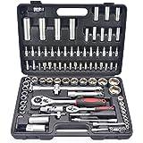 Caja de herramientas Alicates Maletin con Juego de Llaves de Vaso y Carracas Destornilladores Cr-V Autoclé