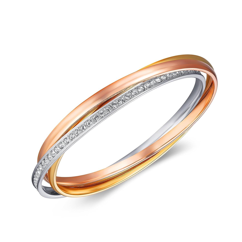 MYJS Trinity 3 Gold Plated Interlocking Bangle Bracelet with Clear Swarovski Crystals loE9byChsm